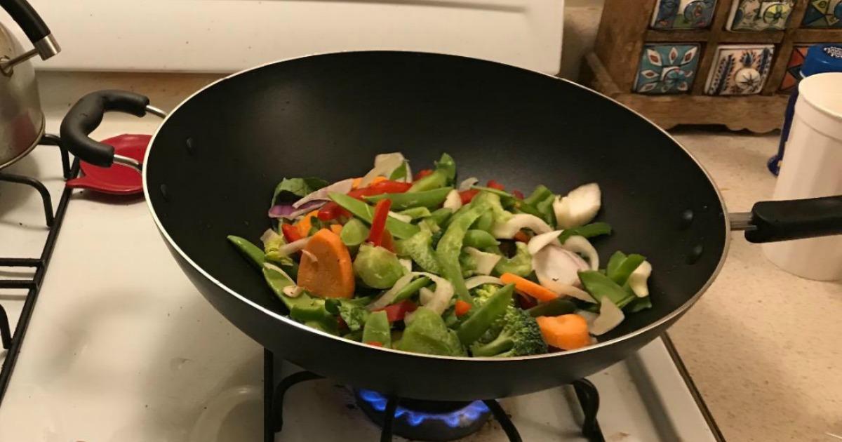 stiry fry in jumbo T-Fal Wok