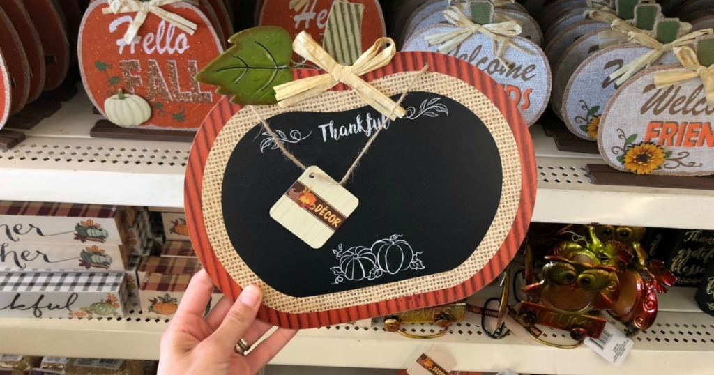 Thankful Pumpkin sign in Dollar Tree