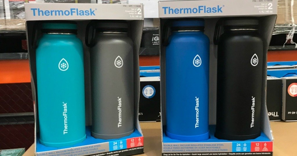 Two packs of thermoflask water bottles on pallet