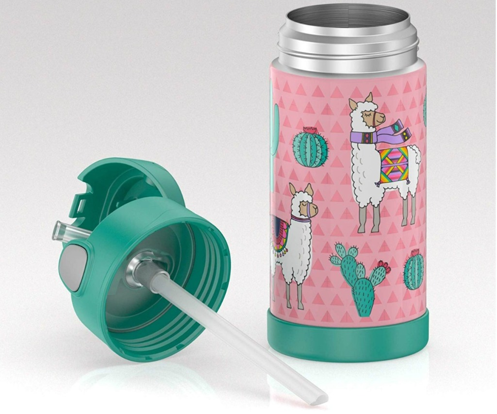 Llama print Thermos bottle for kids with the top off