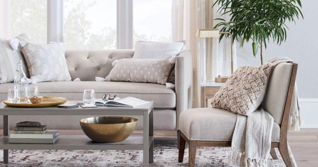 full living room set with Threshold Pharmacist Task Lamp Brass