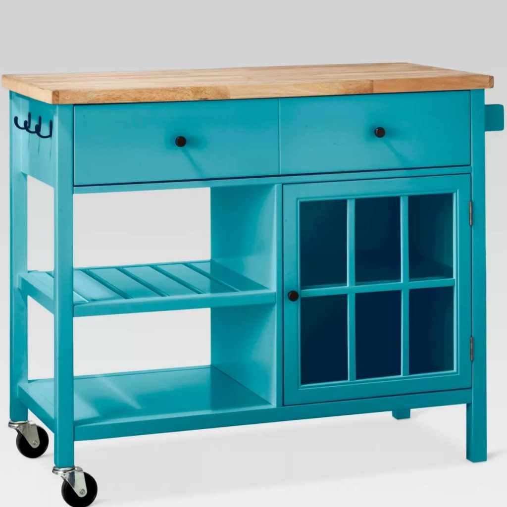 Teal kitchen island with wheels