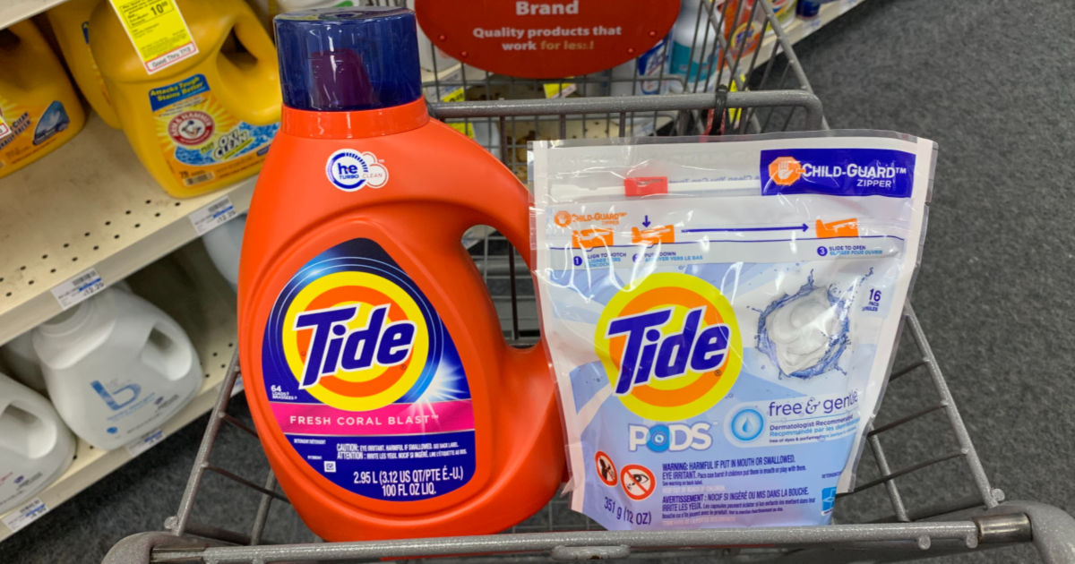 Tide liquid and PODS in shopping cart
