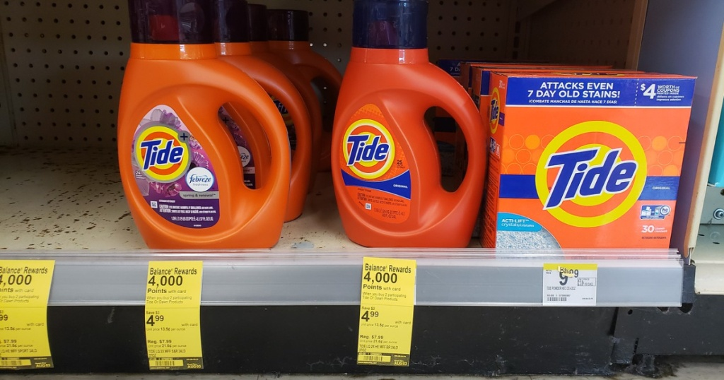tide detergent on shelf at walgreens