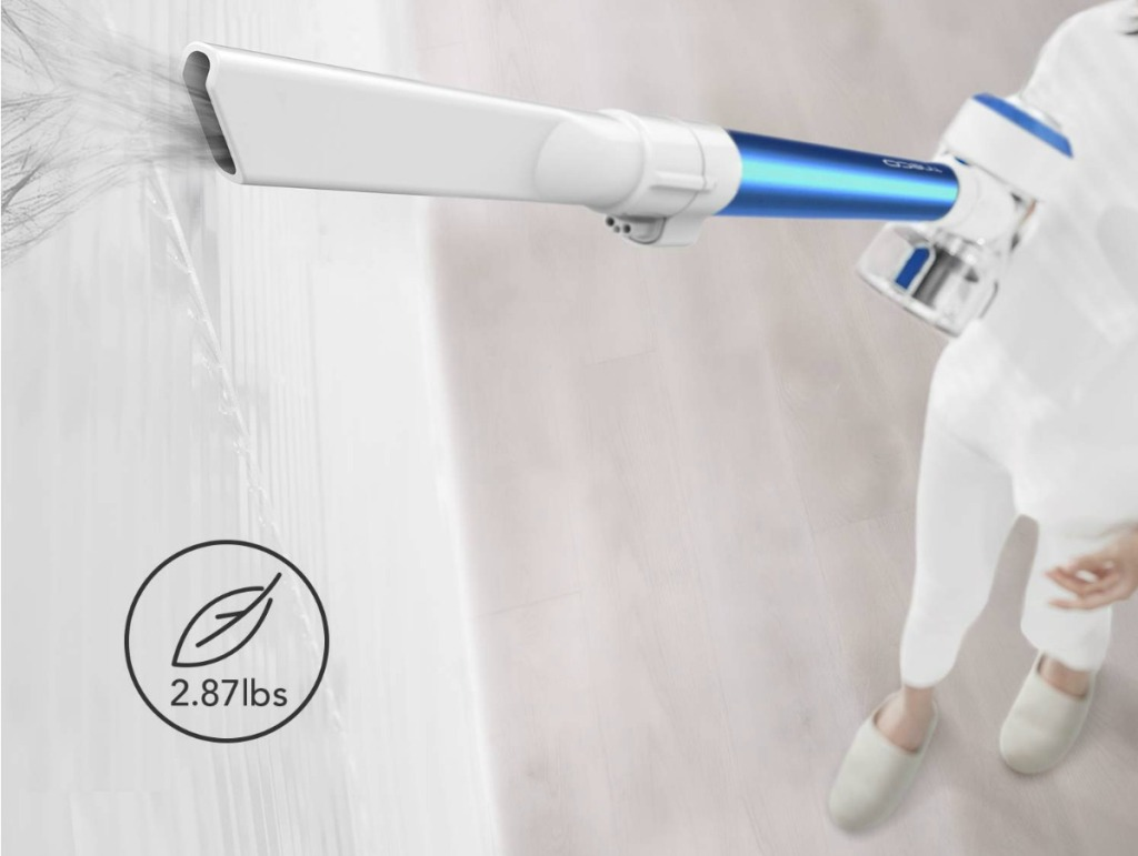 Tineco Vacuum with cleaning blinds up high