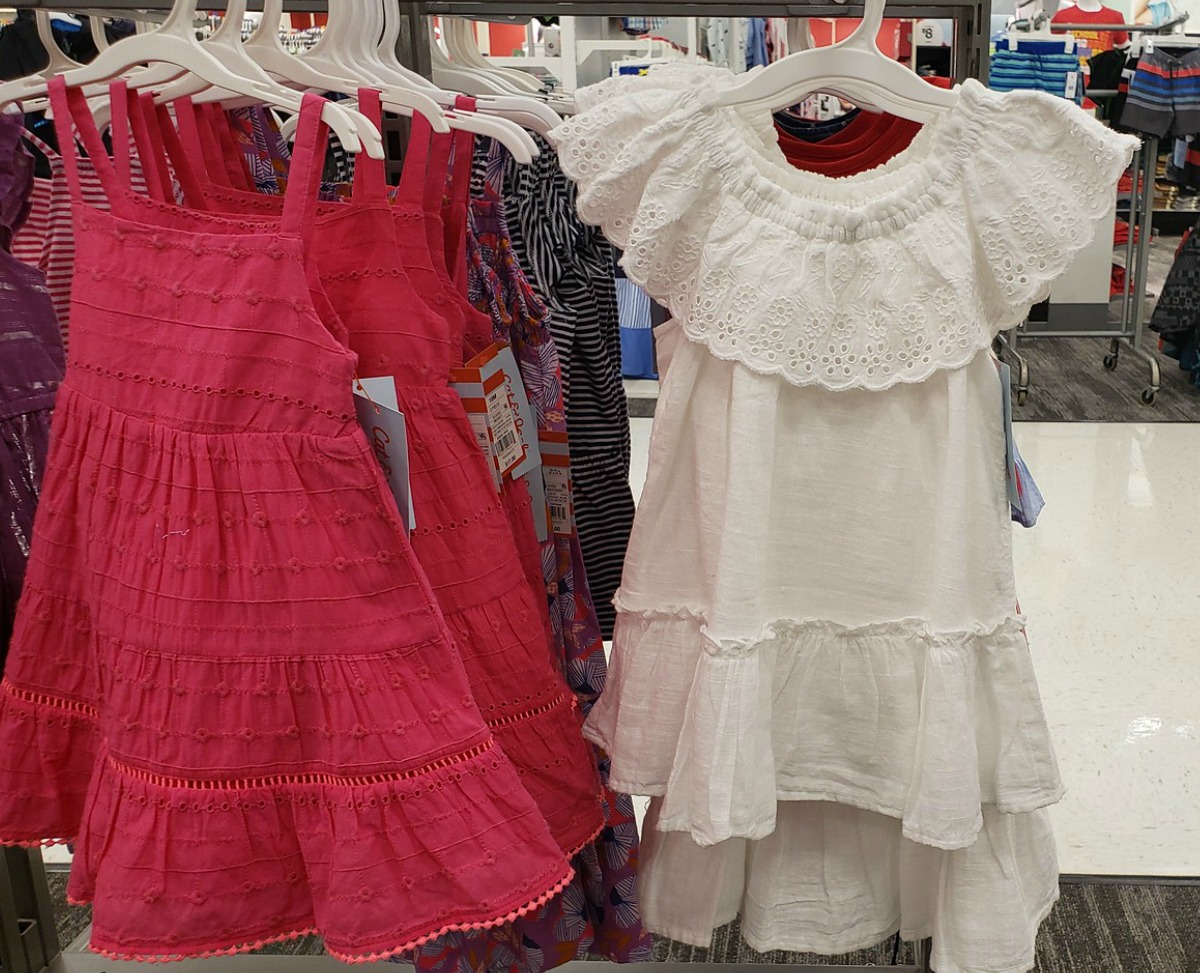 Two style of toddler dress on the rack at Target