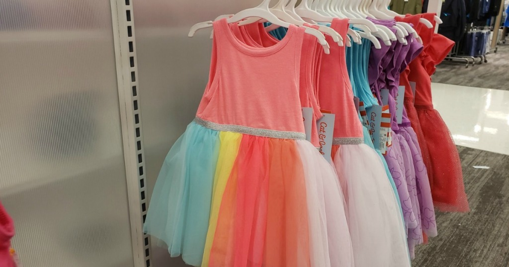 Colorful Toddler Girls dresses on rack at Target
