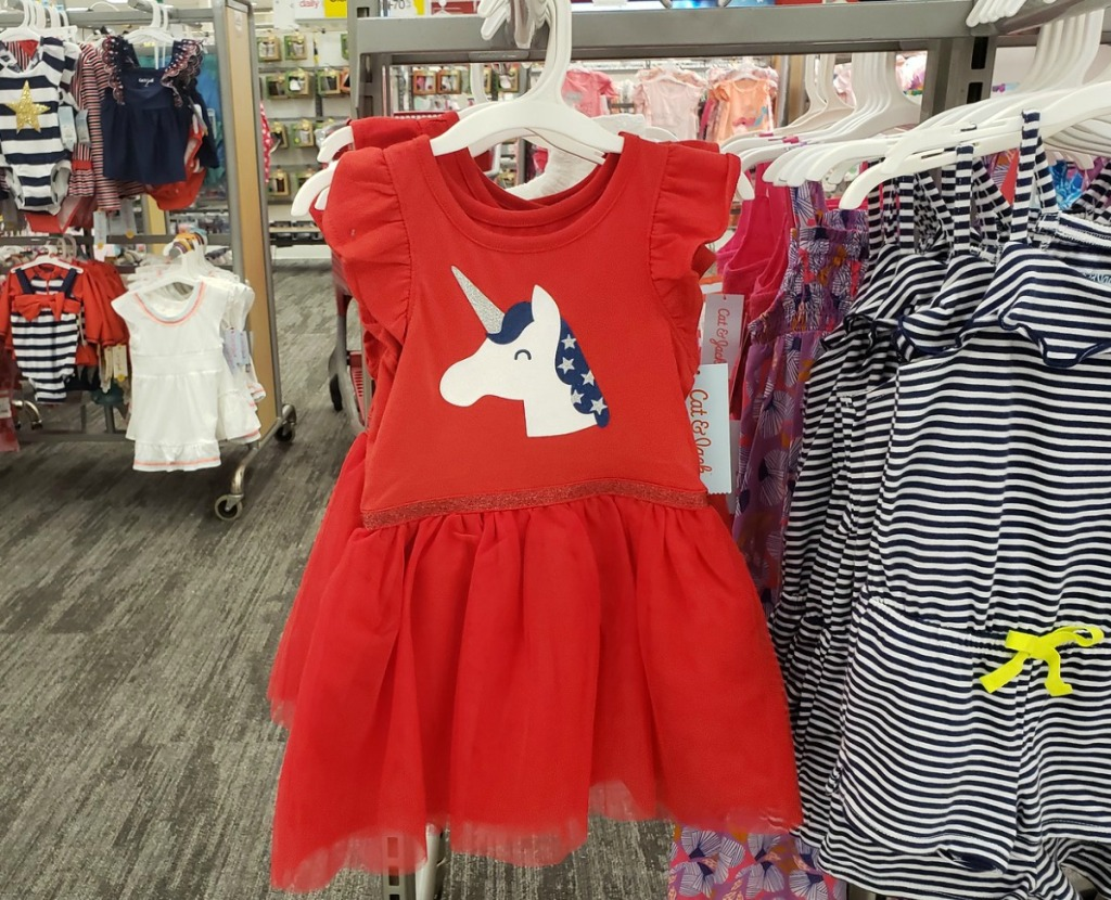 Girl's Toddler Dress in Red with a unicorn on it on a rack at Target