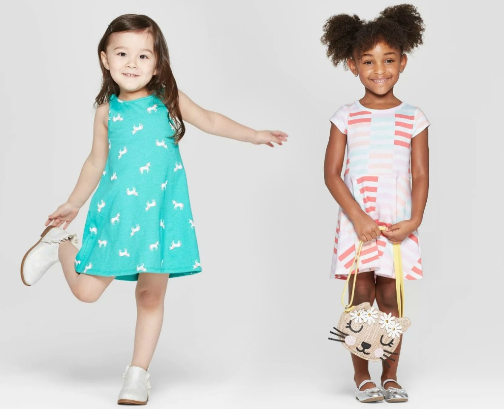 Toddler girls in dresses from Target