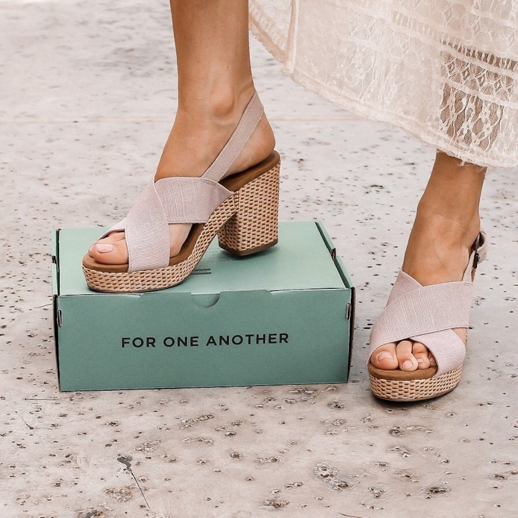 Woman high heel sandals on Tom's For Another One Box