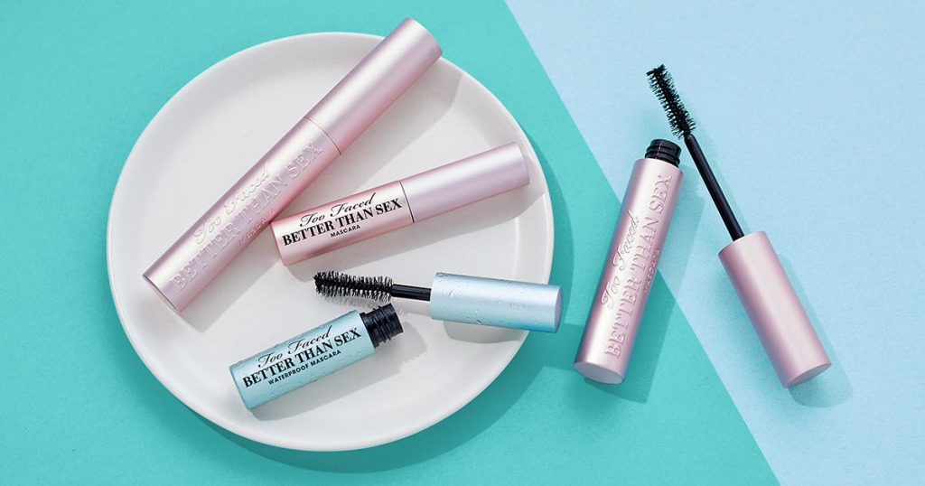 Too Faced Better Than Sex Mascaras on tray