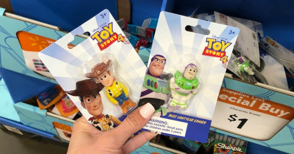 Toys Story 4 Characters as erasers at Walmart in store