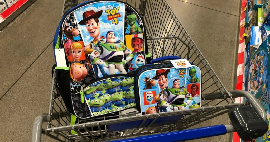 Toy Story 4- themed backpack and lunchbox in cart at ALDI