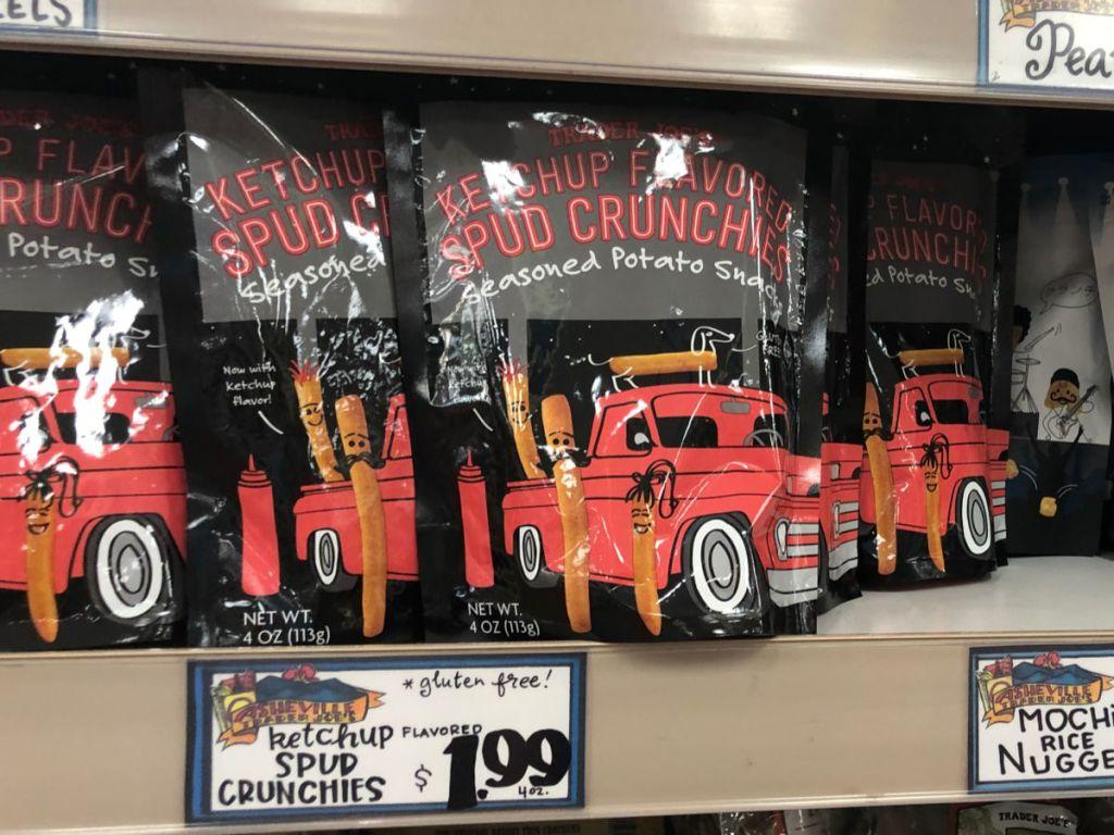 shelf of Trader Joes Ketchup Flavored Spud Crunchies