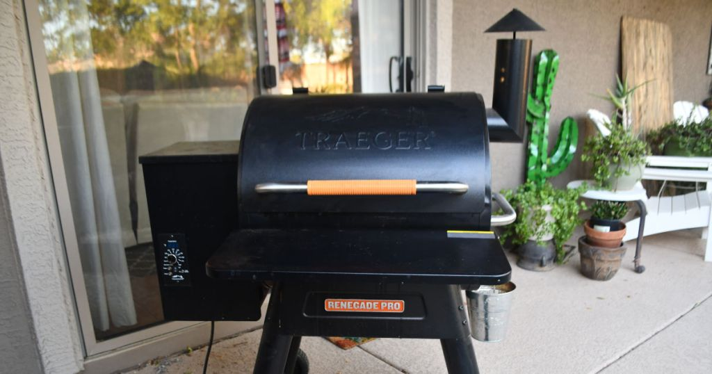 Traeger Renegade Pro grill and smoker on patio with lid shut