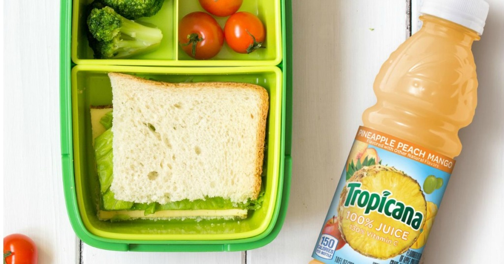 Tropicana Pineapple Peach Mango Juice by a lunchbox
