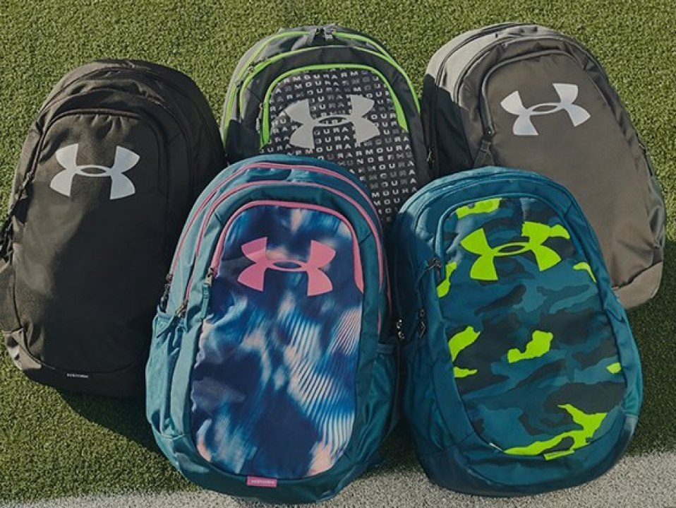 under armour backpacks in a stack