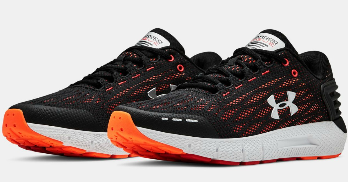 Under Armour Men's Charge Shoes in black with orange highlights