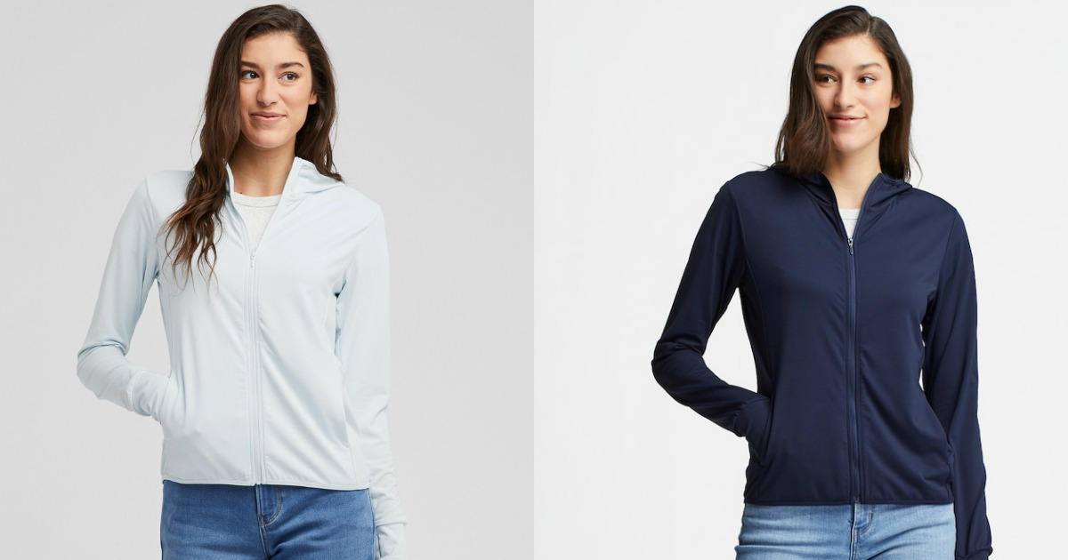 Woman modeling different colors of a Uniqlo Hoodie