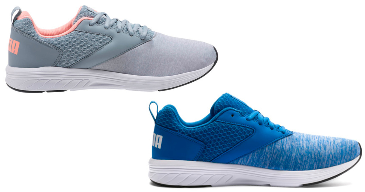 two pairs of running shoes in grey and blue