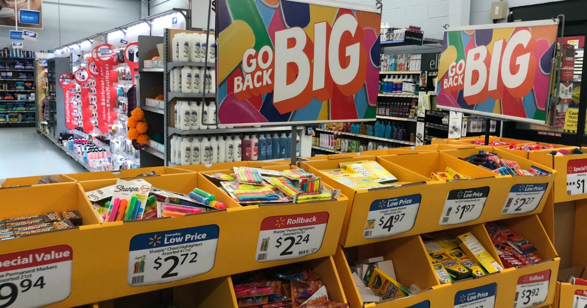 Walmart Back to school bins full of supplies