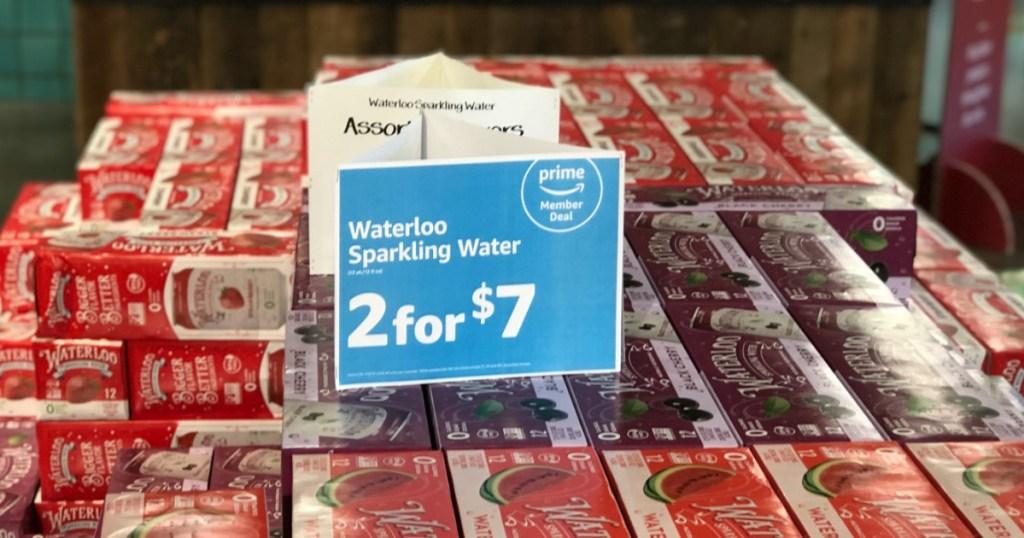 Store display of Waterloo Sparkling Water in Whole Foods