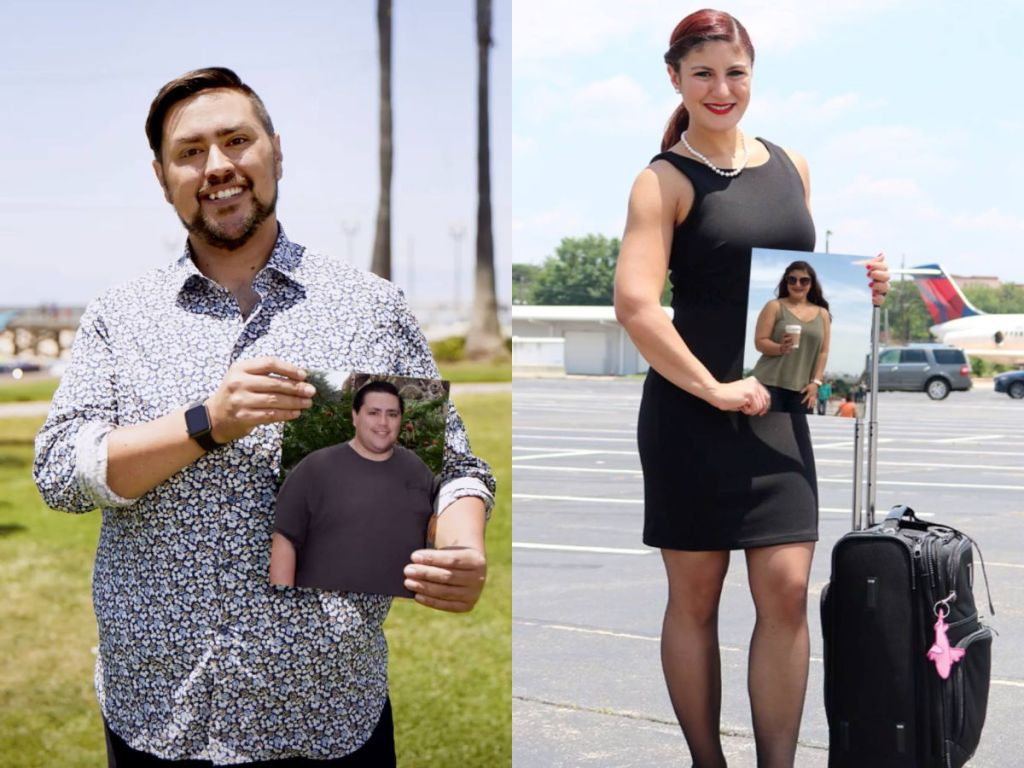 Weight Watchers transformation shots of woman and man