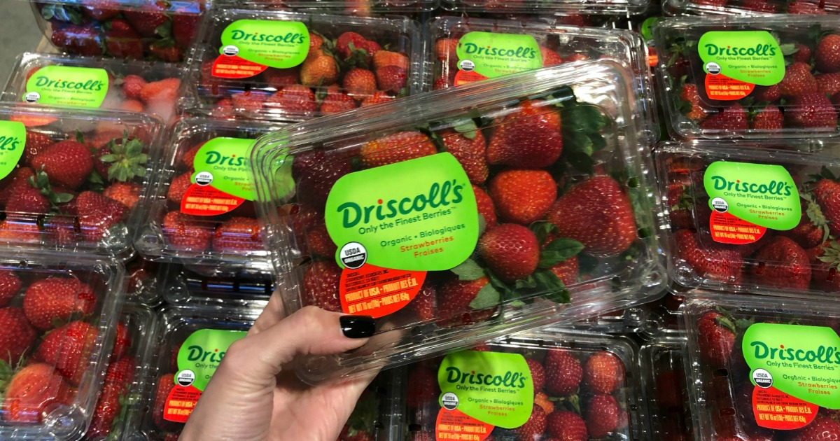 Woman holding Driscoll's berries in Whole Foods