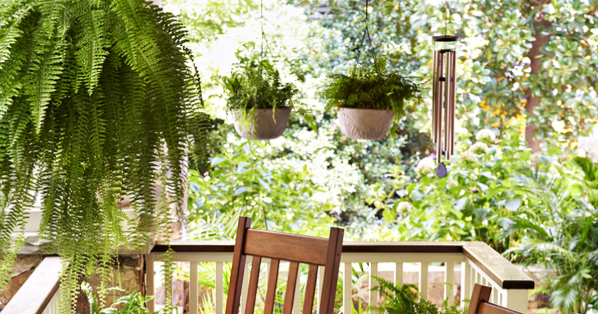 wind chimes and hanging potted plants on porch