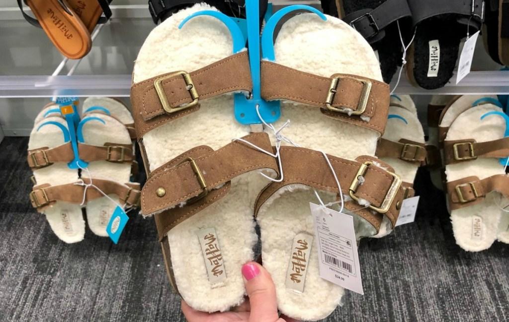 Sherpa fur-lined women's sandals in brown in store