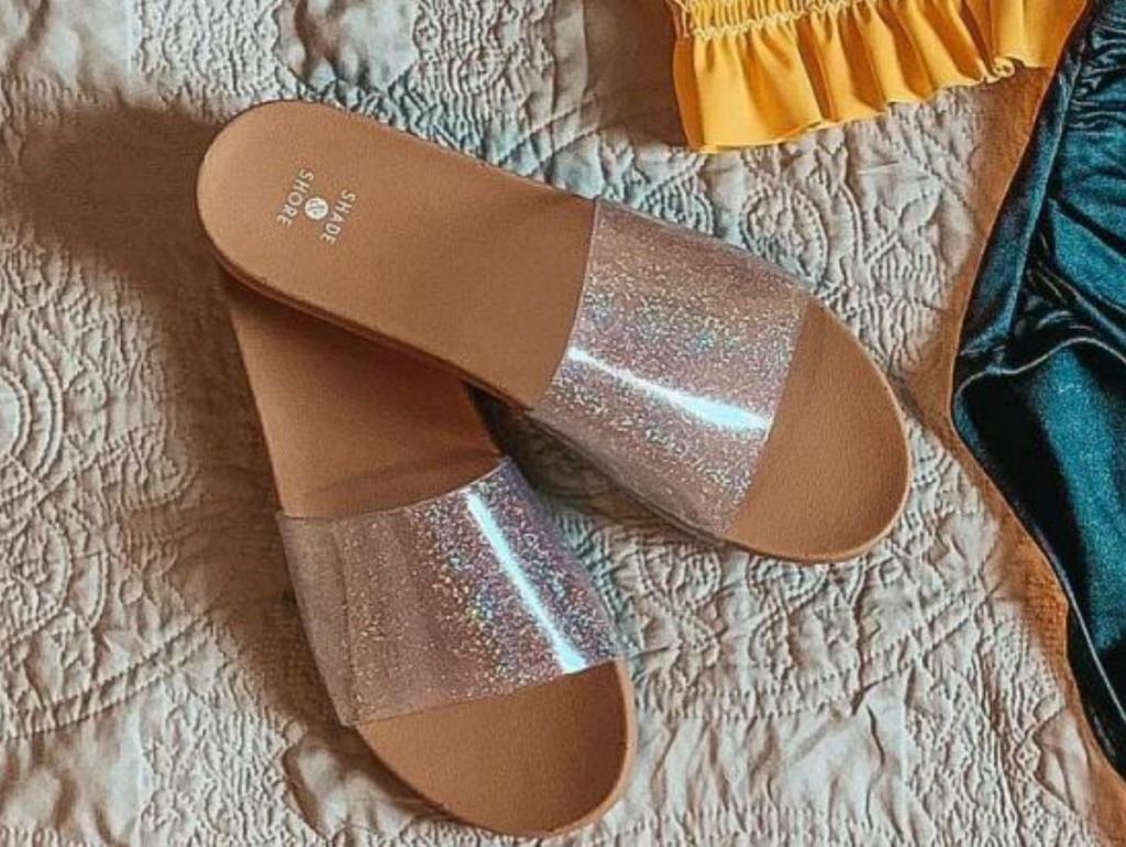 Clear glitter slides women's shoes on rug