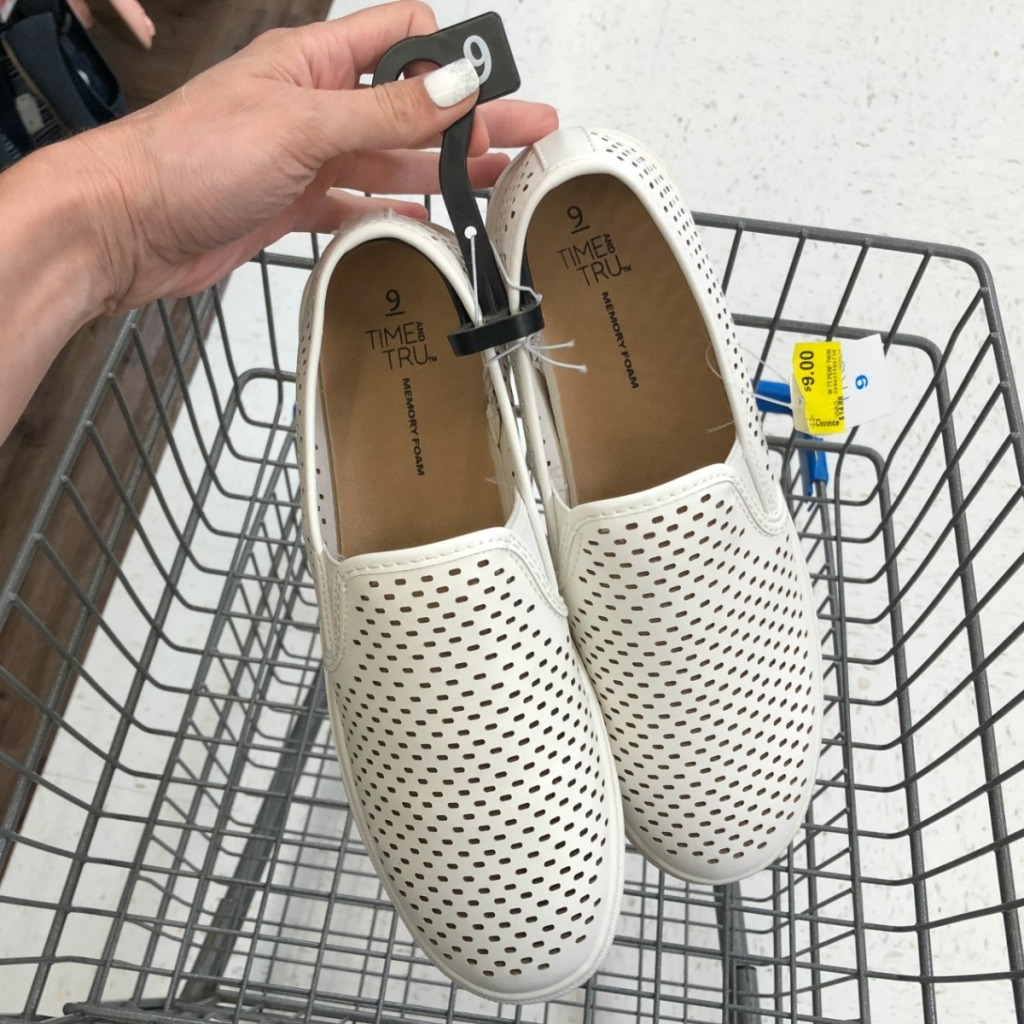 White slip on shoes in cart at Walmart