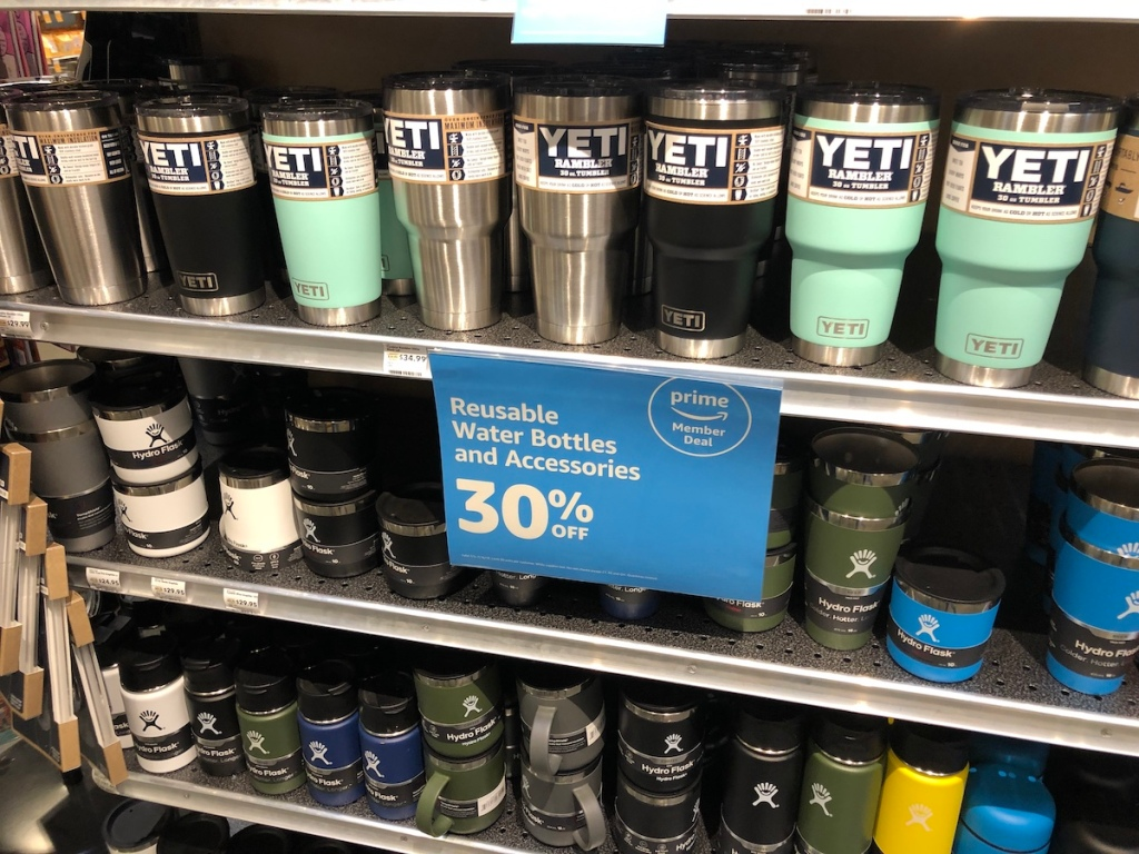 Shelf display of Yeti cups at Whole Foods