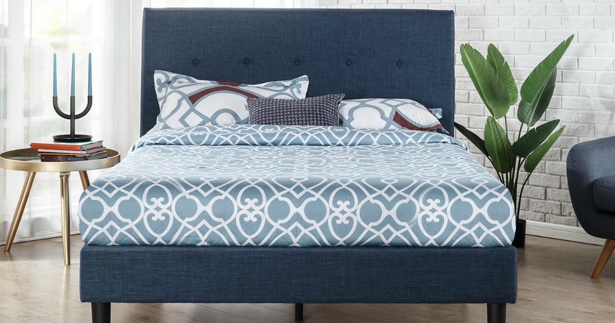 Zinus Upholstered King Size Platform Bed Just 136 96