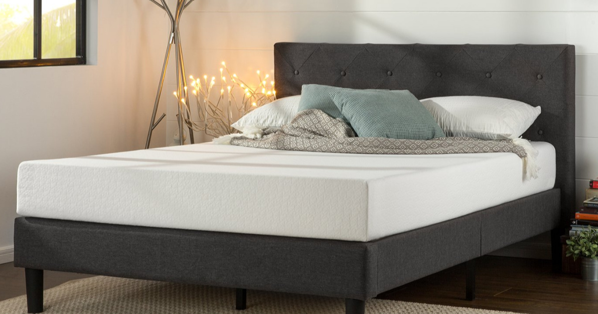 Amazon Zinus Upholstered Queen Size Platform Bed Only