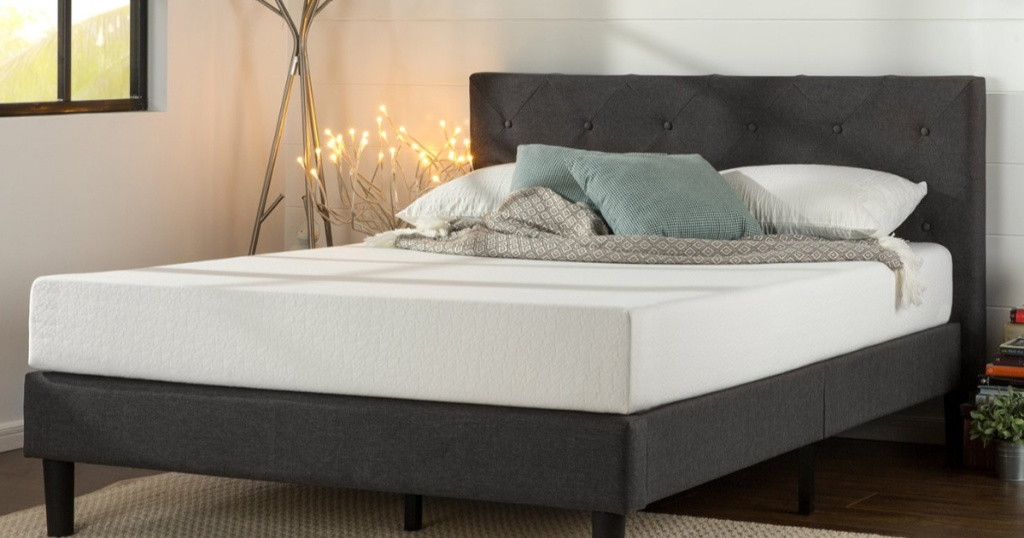 Zinus Shalini Upholstered Diamond Stitched Platform Queen Bed