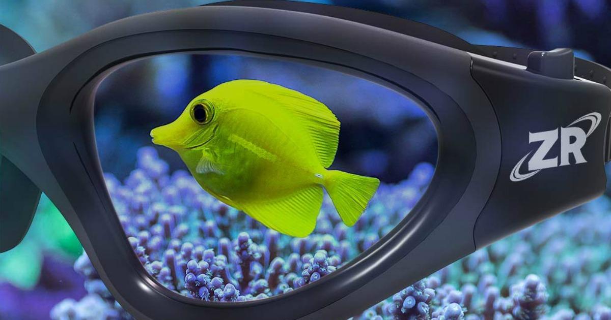 yellow fish behind Swimming Goggles