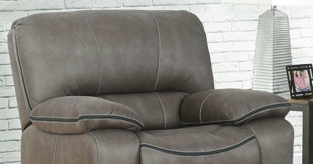 grey recliner in living room