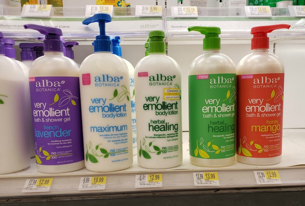 bottles of alba botanica shower gels on a target shelf