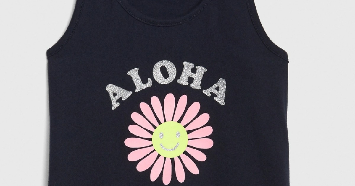 aloha sparkle letters on blue tank with flower