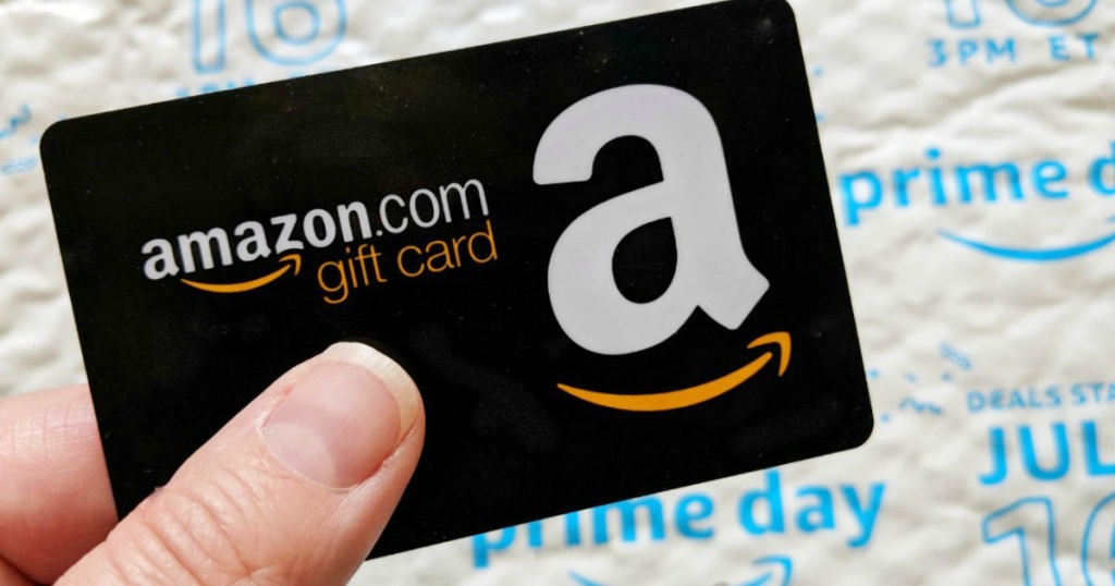 amazon gift card in front of prime day package