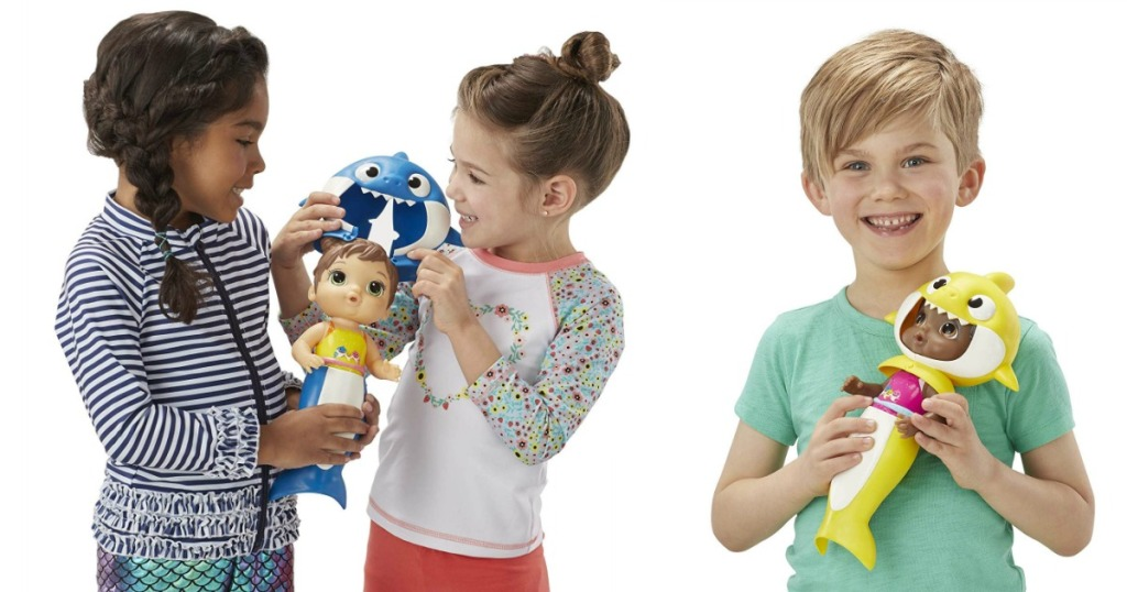 girls and boy playing with baby alive baby shark dolls