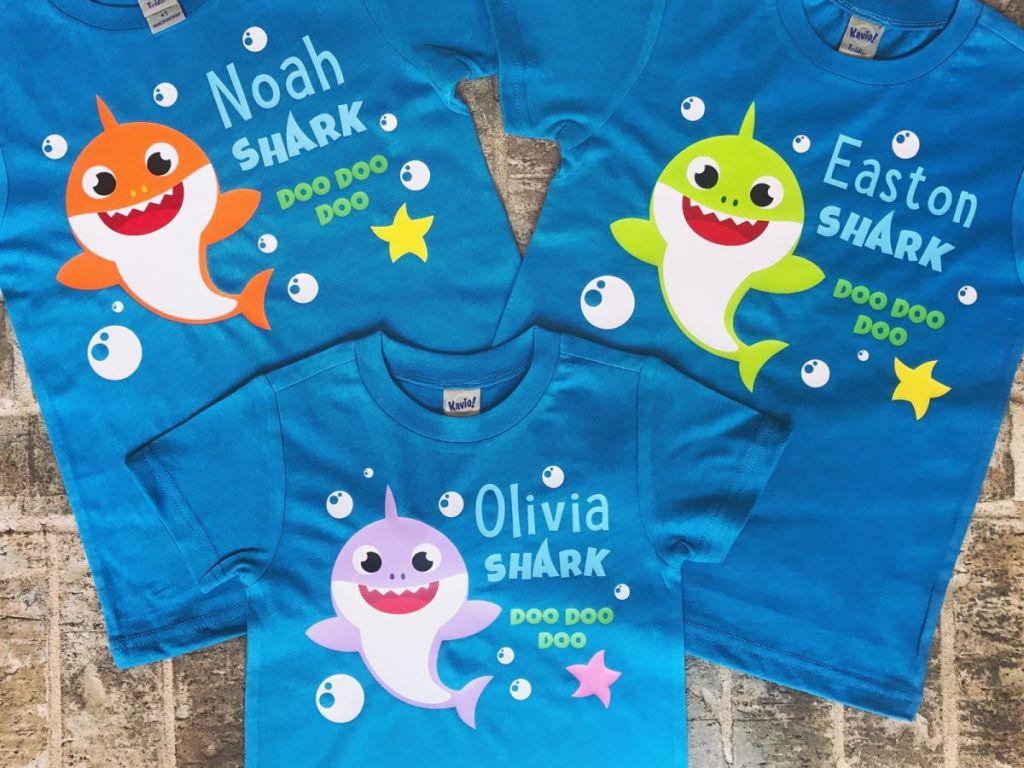 baby shark tshirt on floor