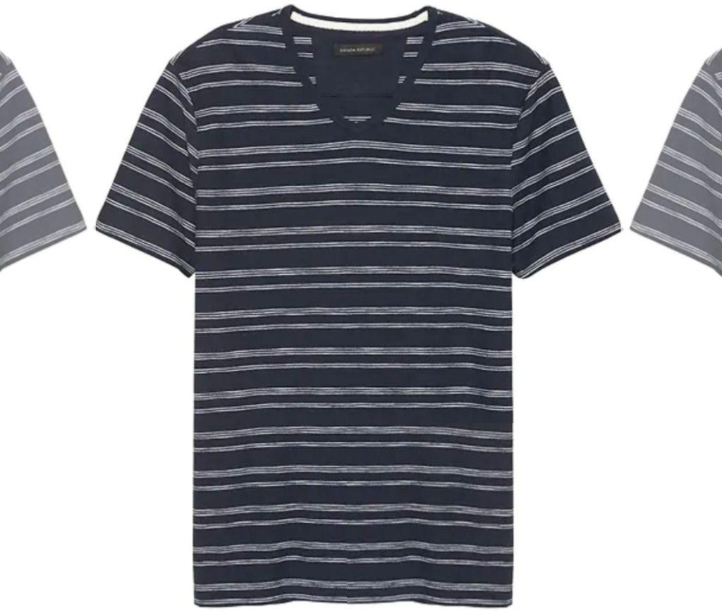 banana republic mens v-neck shirt in navy and white stripes