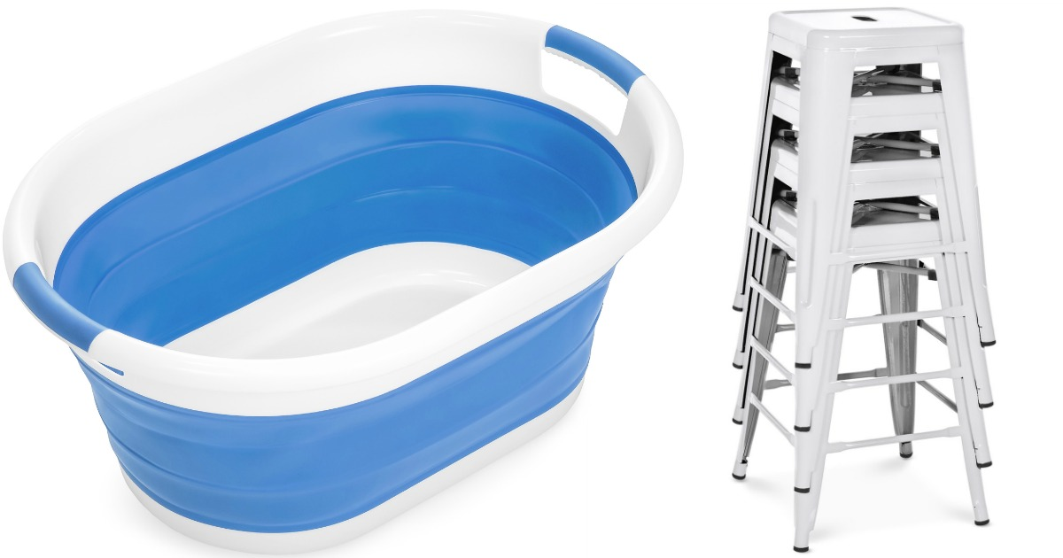 blue/white laundry basket and stack of white stools