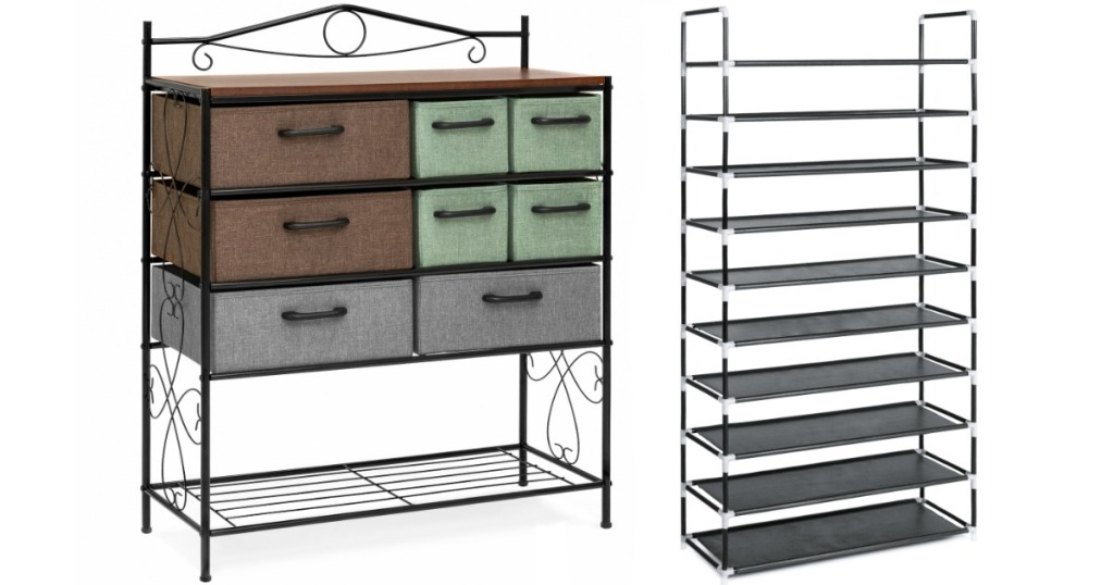 8-drawer storage chest and metal shoe rack