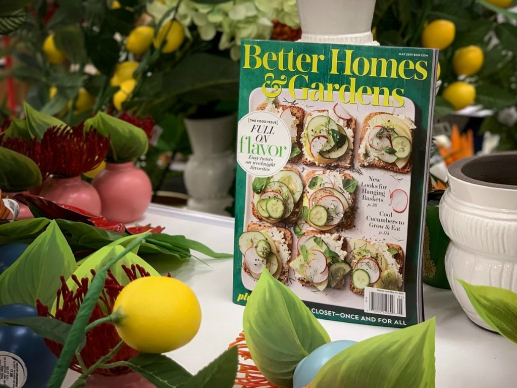 Better Homes & Garden magazine on table with plants surrounding it
