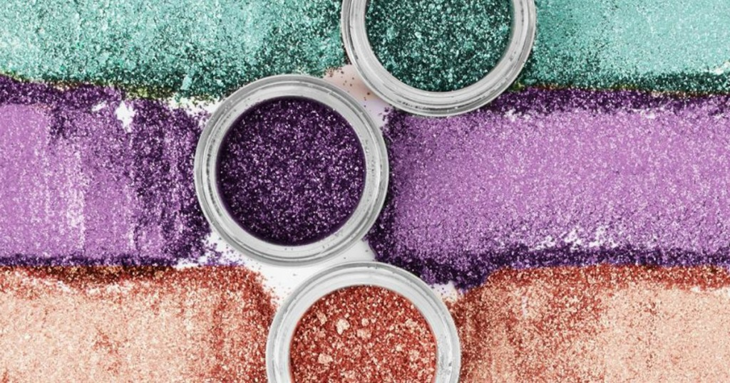 colorful make up that glitters and is open and spilled