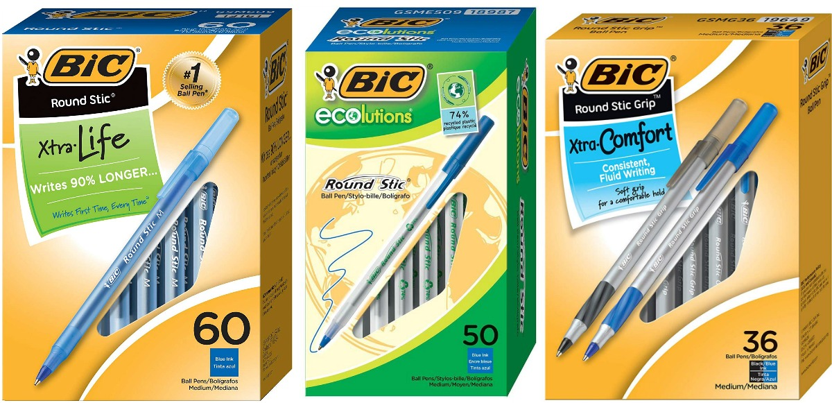 bic xtra life, ecolutions and xtra comfort pens