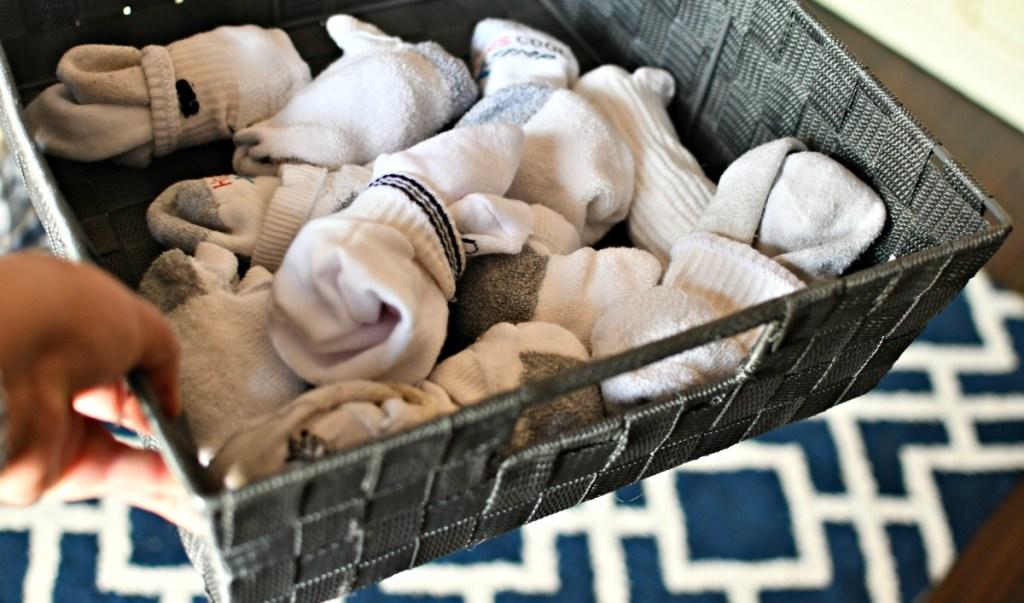 bin of socks for back to school organizing